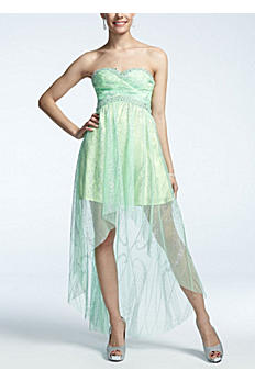Strapless High Low Glitter Mesh Dress 211S50040