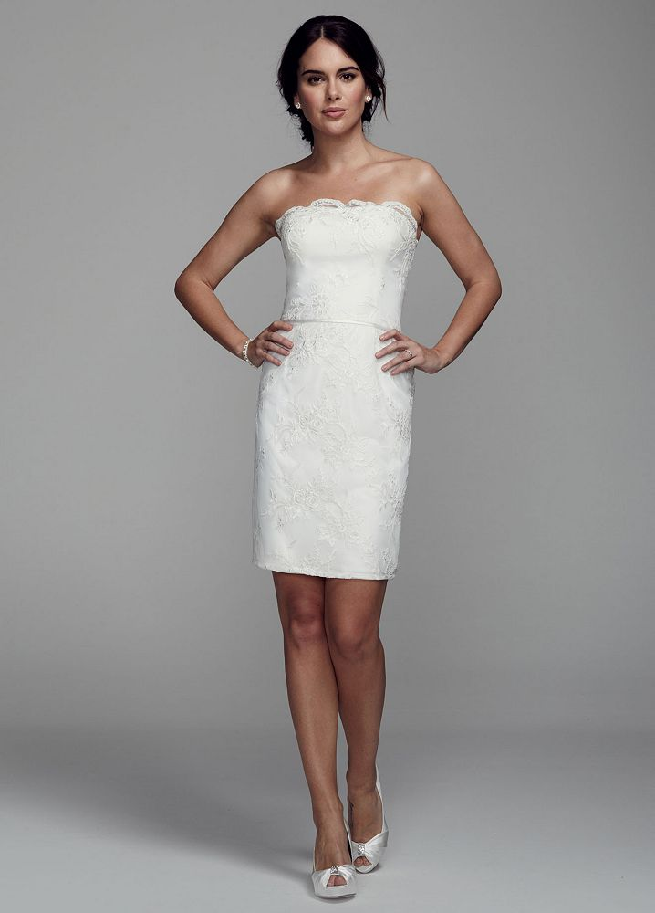 David 39 s bridal strapless short wedding dress with lace David s bridal strapless wedding dress