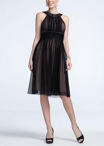 Sleeveless Mesh Beaded Neckline Dress 264259D