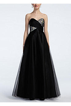 Strapless Cross Over Embellished Bust Ball Gown 310713