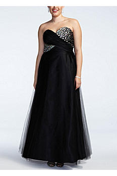 Strapless Cross Over Embellished Bust Ball Gown 310713W
