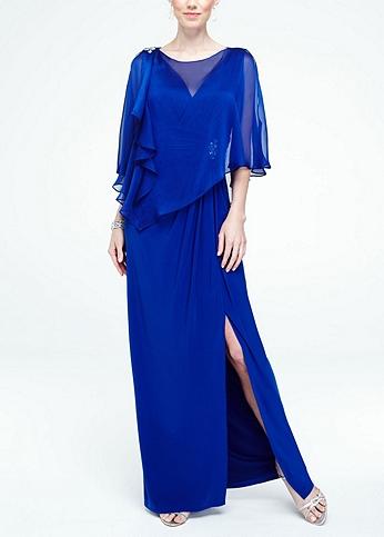 Long Jersey Dress with Chiffon Caplet 3193DB
