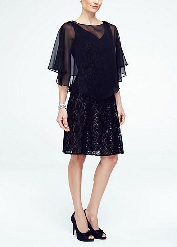 Short Lace Dress with Chiffon Caplet 3204DB