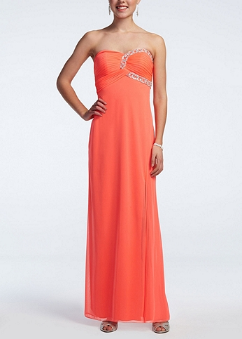 Long Strapless Mesh Prom Dress with Beaded Bust 54041