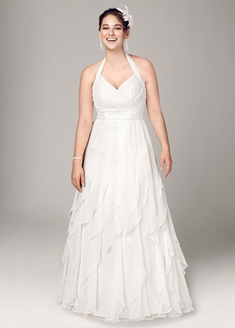 Soft Chiffon Halter Gown with Ruffled Skirt AI13020612