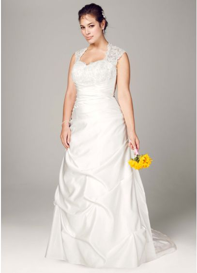 Cap sleeved satin side draped a line gown david 39 s bridal for Side draped wedding dress