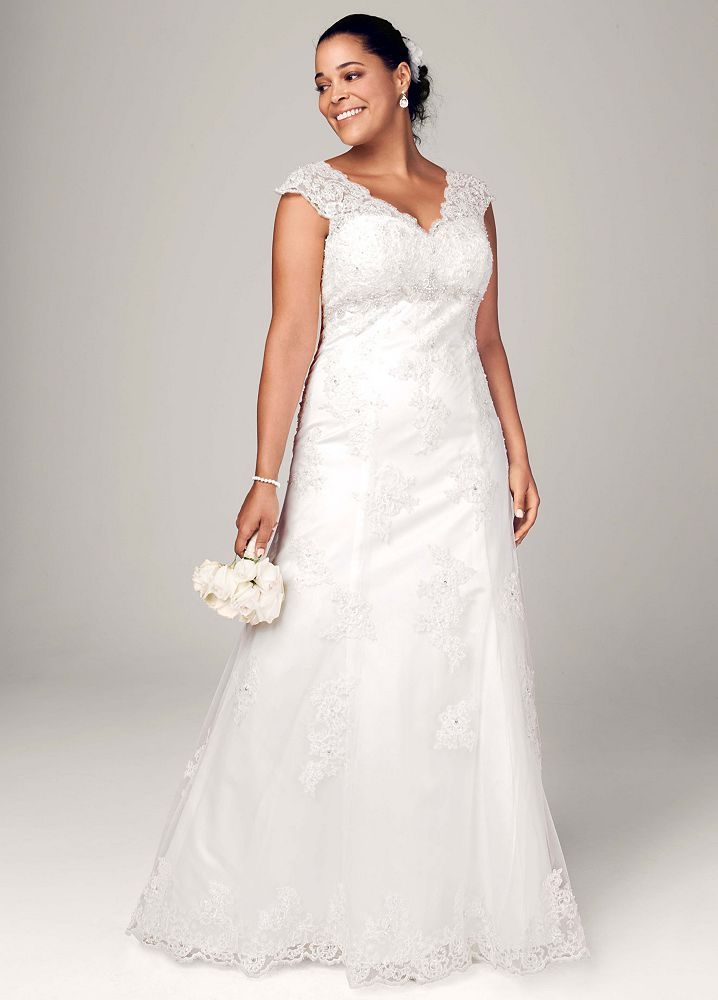 David 39 s bridal cap sleeve lace over satin wedding dress for Wedding dress illusion back