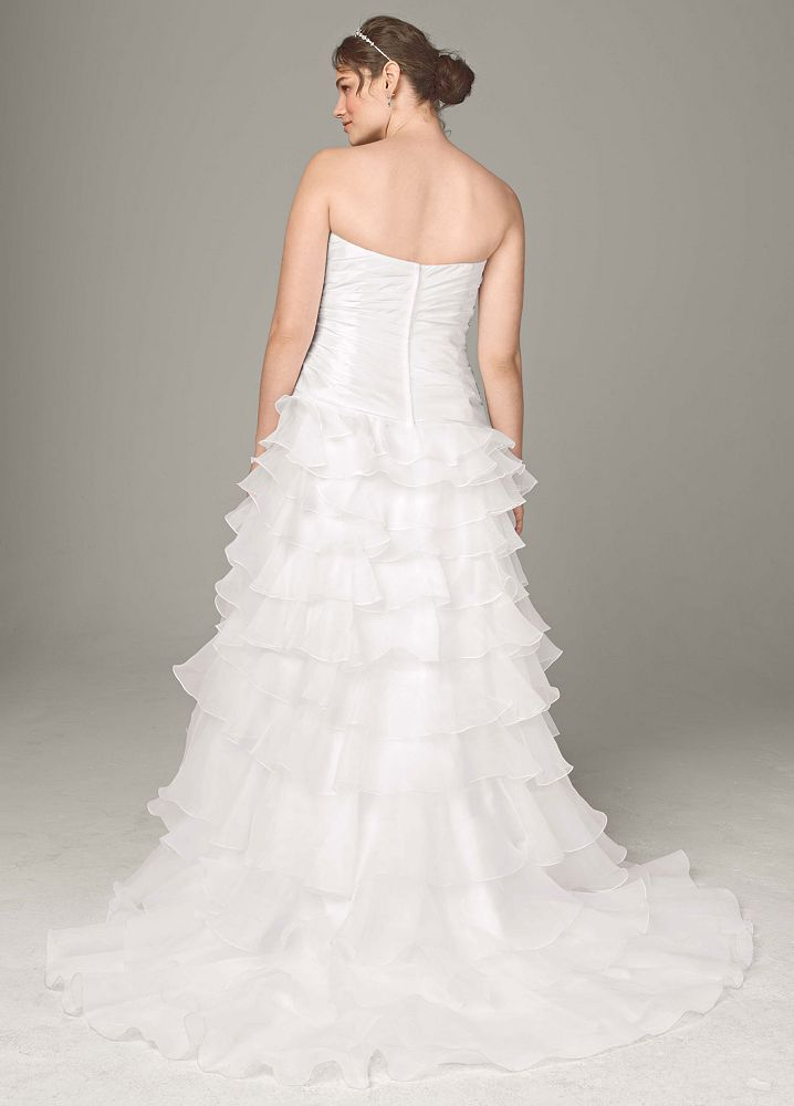 David 39 s bridal strapless taffeta high low ruffle skirt for Want to sell my wedding dress
