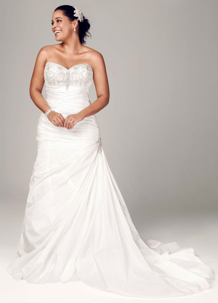 David 39 s bridal strapless sweetheart trumpet wedding dress for Sweetheart lace trumpet wedding dress