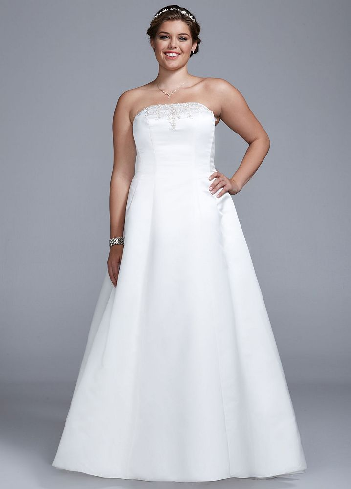 David 39 S Bridal Wedding Dress Strapless Satin A Line With