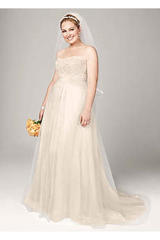 Strapless A Line Beaded Lace Tulle Gown