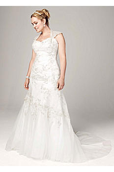Tulle Over Satin Cap Sleeve Trumpet Gown AI13012678