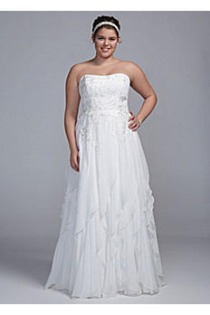 Strapless A Line Chiffon Gown with Ruffle Skirt AI13012691
