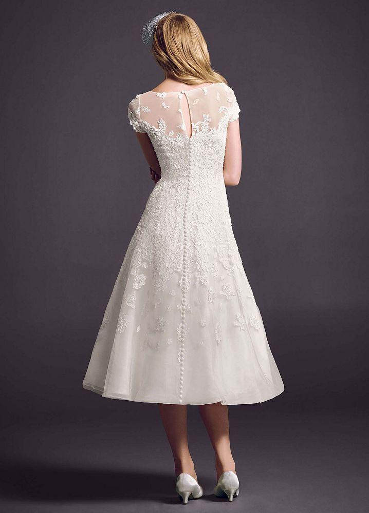 David 39 s bridal cap sleeve wedding dress with illusion neckline for Wedding dresses with illusion neckline and sleeves