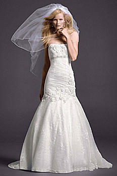 Oleg Cassini Lace Wedding Dress with Floral Detail CWG377