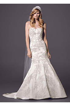 Strapless Satin Trumpet Gown with Lace