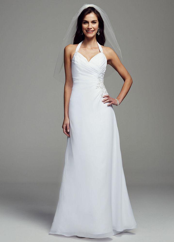 David 39 s bridal sheath georgette wedding dress with halter for Davids bridal cheap wedding dresses