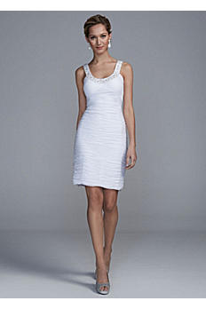 Short Allover Ruched Dress with Beaded Neckline EJ4M5882