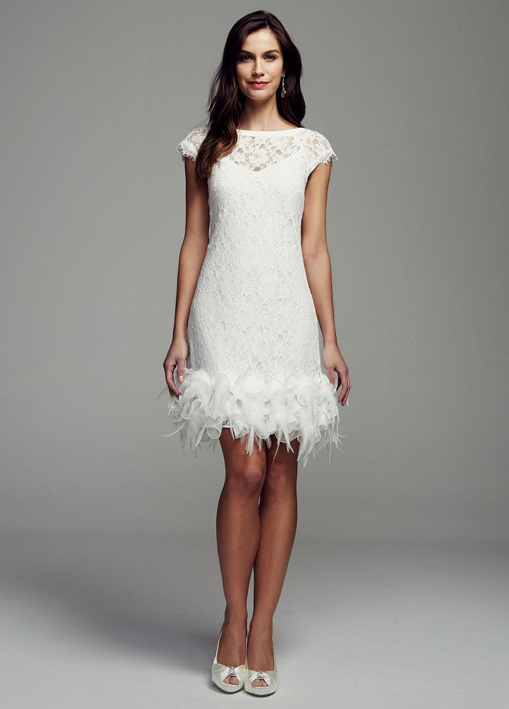 David 39 s bridal short lace wedding dress with feather trim for Wedding dress with feathers on bottom