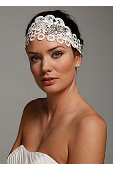 Swirl Lace Headband with Crystal Cluster H9043