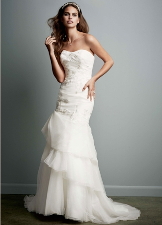 Organza Trumpet Gown with Floral Detail KP3622