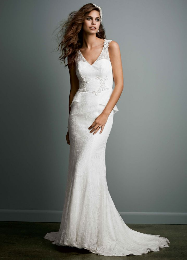 David 39 s bridal sheath lace wedding dress with v neck and for Wedding dress illusion back
