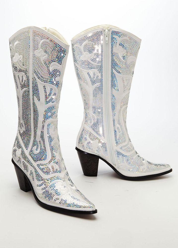 David\'s Bridal Wedding & Bridesmaid Shoes Tall Embellished Cowboy ...