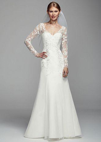 David S Bridal Long Illusion Sleeve Tulle Wedding Dress