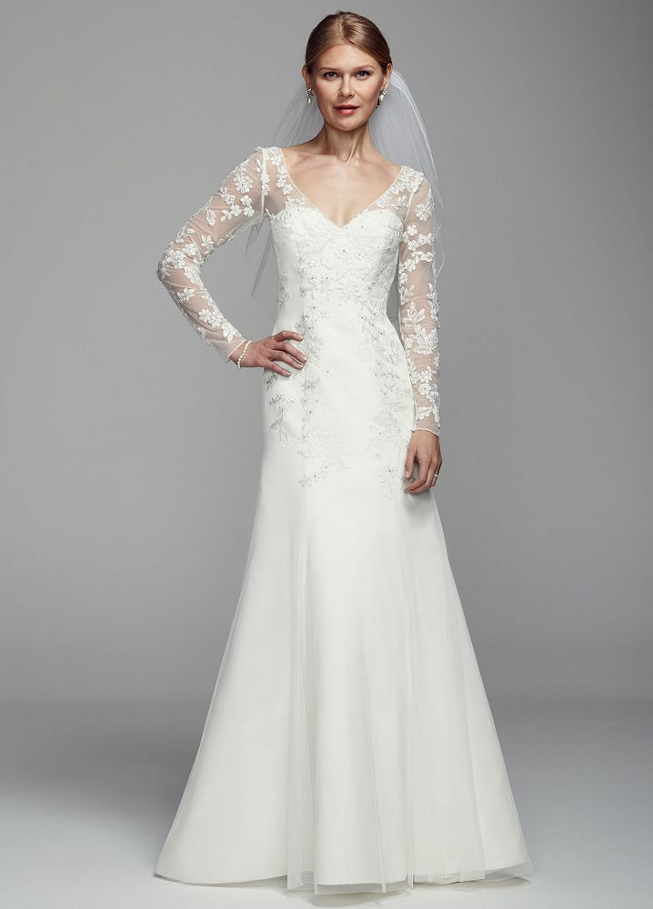 David 39 s bridal long illusion sleeve tulle wedding dress for Long wedding dresses with sleeves