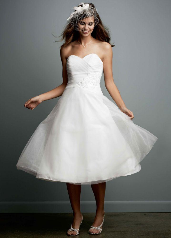 David 39 s bridal sample tea length strapless tulle wedding David s bridal strapless wedding dress