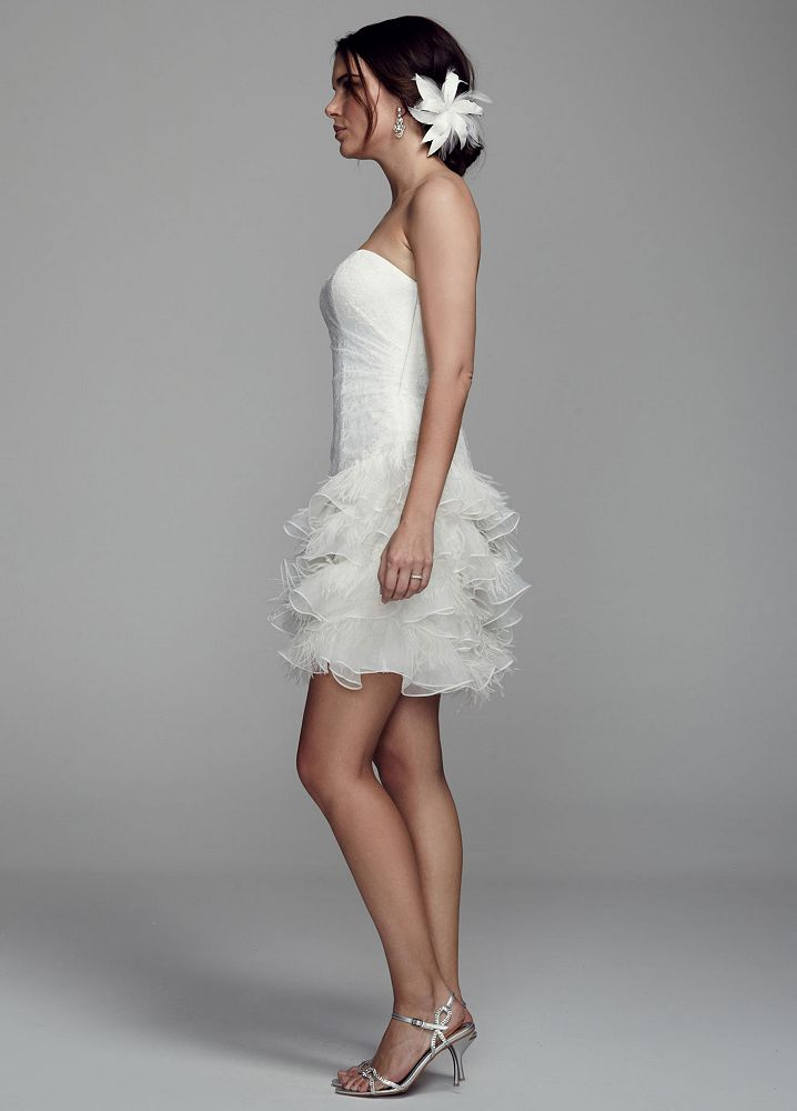 Db studio short strapless lace wedding dress with feather for Feather wedding dress davids bridal