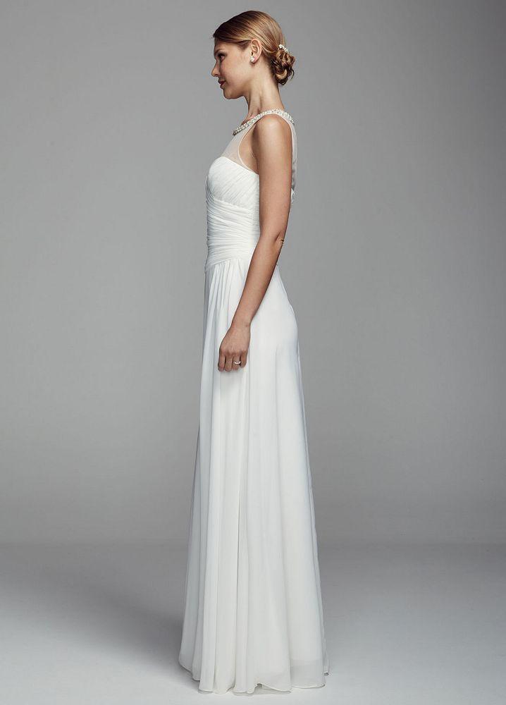 David 39 s bridal long chiffon tank wedding dress with for Want to sell my wedding dress