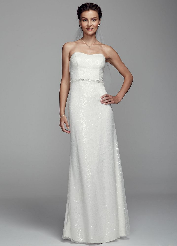 Db studio long strapless sheath wedding dress with beaded for David s bridal strapless wedding dress