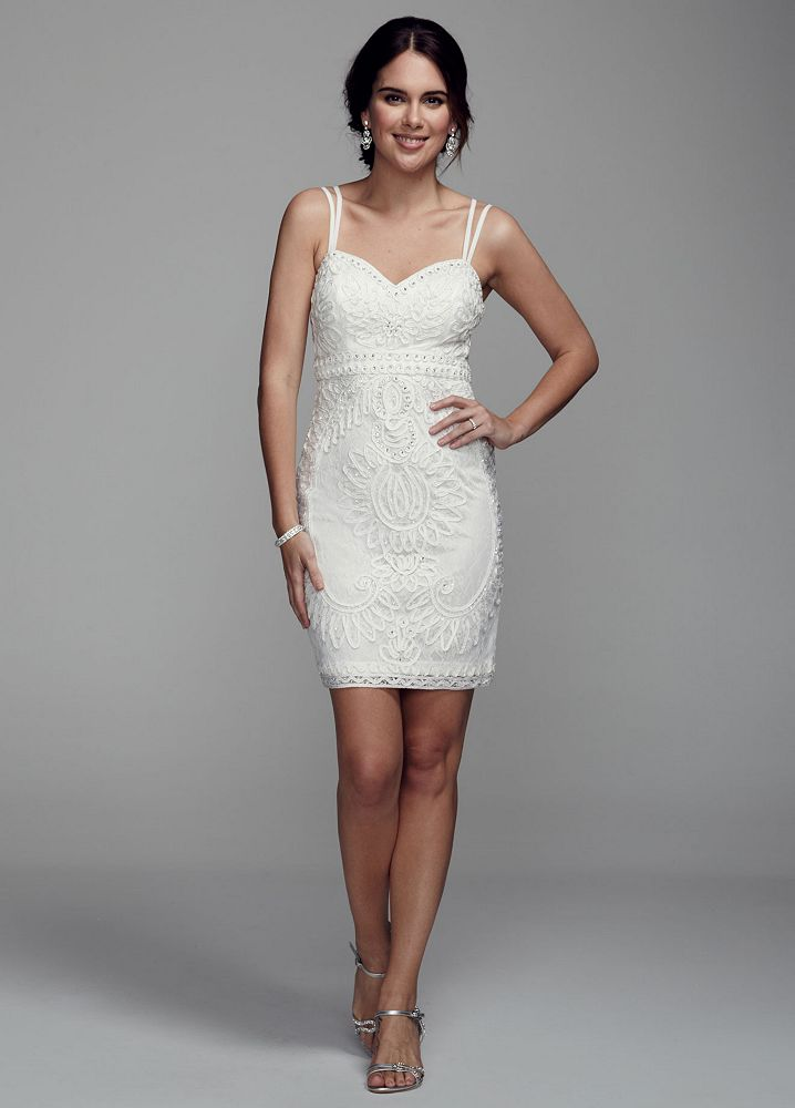 Db studio spaghetti strap short wedding dress with beaded for Short beaded wedding dress