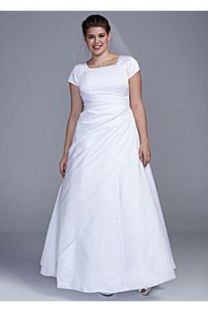 Short Sleeve Satin A-line Plus Size Wedding Dress SL9T9724