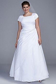 Short Sleeve Satin A-line Plus Size Wedding Dress SL9T9724