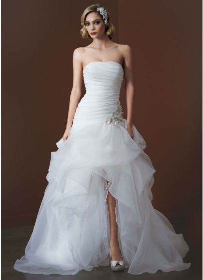 Organza And Tulle High Low Gown With Beaded Flower