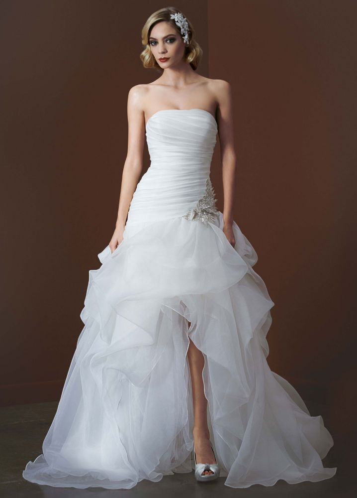 David 39 s bridal organza and tulle high low wedding dress for Wedding dress high low
