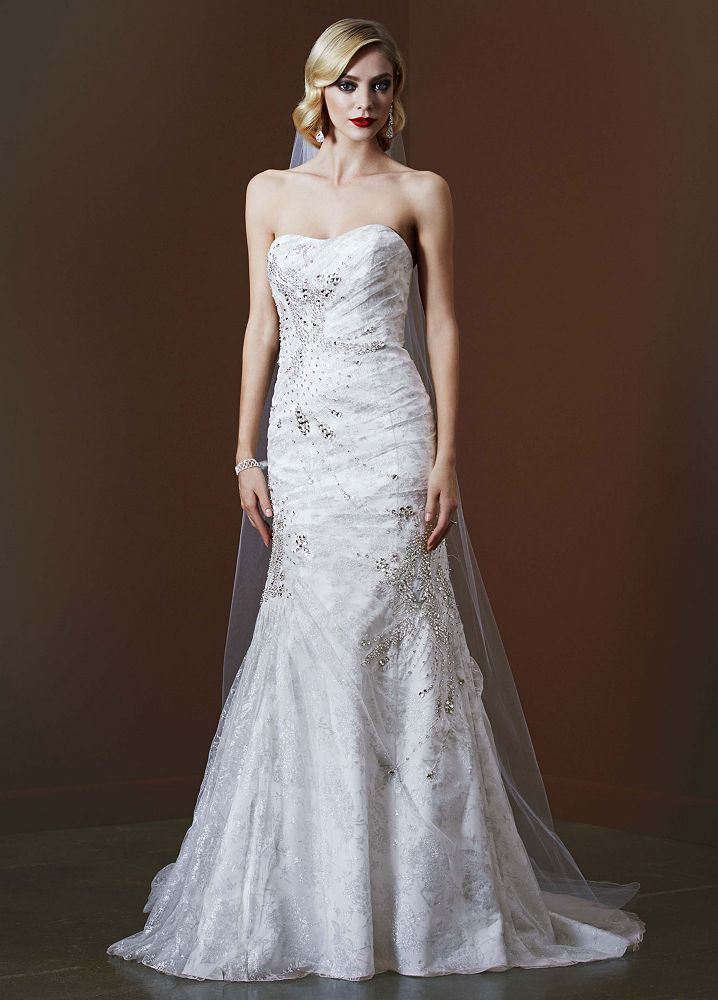 David 39 s bridal metallic lace wedding dress with crystal for David s bridal lace wedding dress