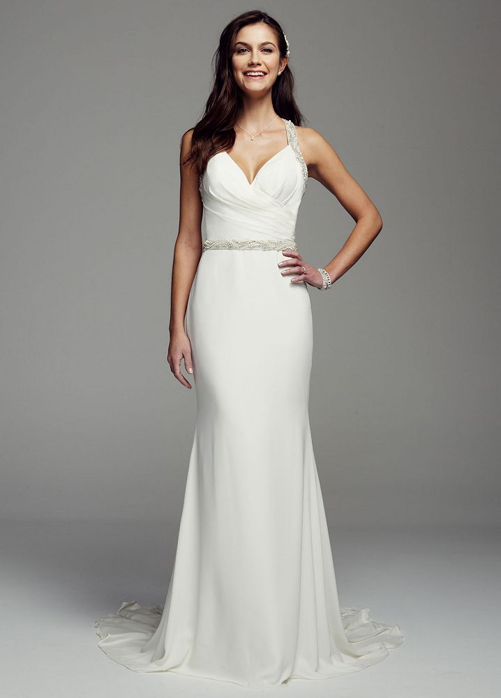 Galina signature halter chiffon sheath wedding dress with for Wedding dress strap styles