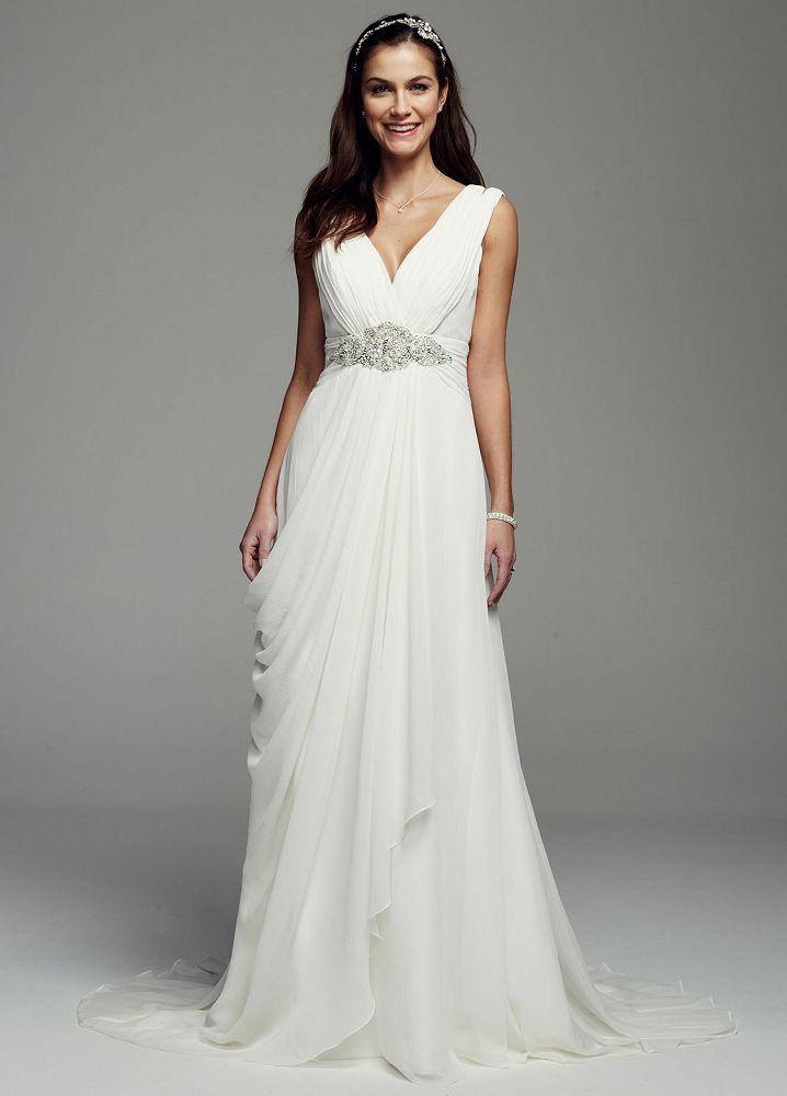 Galina signature tank crinkle chiffon sheath wedding dress for Galina signature wedding dresses