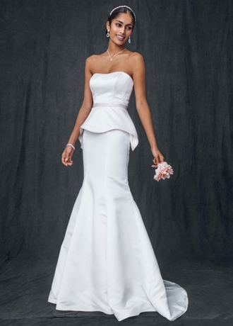 Satin Trumpet Wedding Gown with Beaded Waist T3518