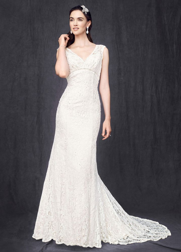 David 39 s bridal petite all over beaded lace trumpet wedding for Wedding dress pick up style