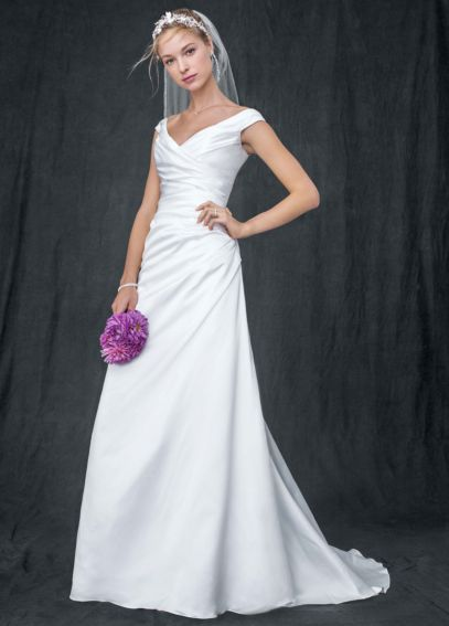 Off the shoulder a line with side draped bodice davids for Side draped wedding dress