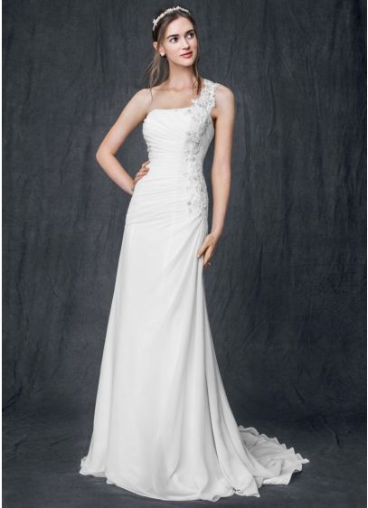 One shoulder chiffon gown with floral appliques david 39 s for David bridal wedding dresses on sale