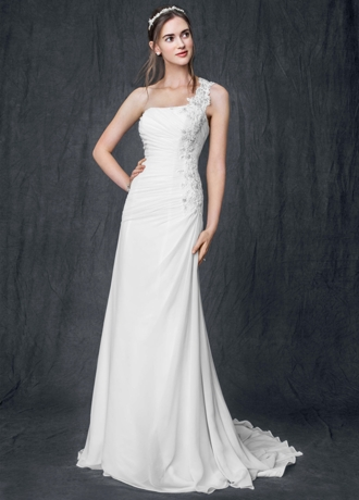 One Shoulder Chiffon Gown with Floral Appliques AI10020493