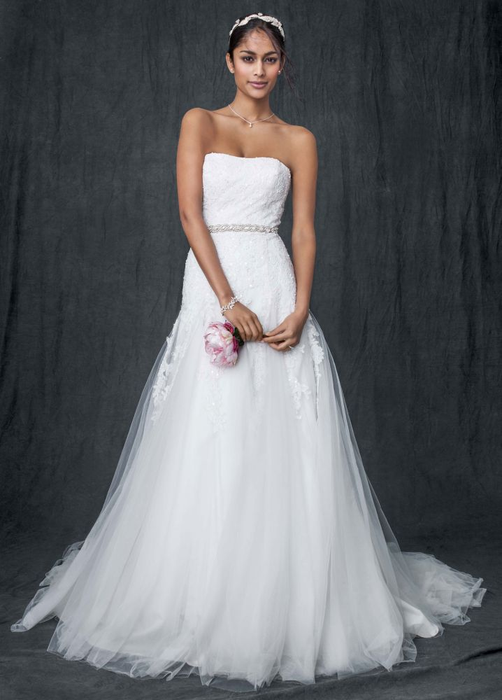 David 39 s bridal sample strapless tulle a line wedding for Wedding dress for sale used