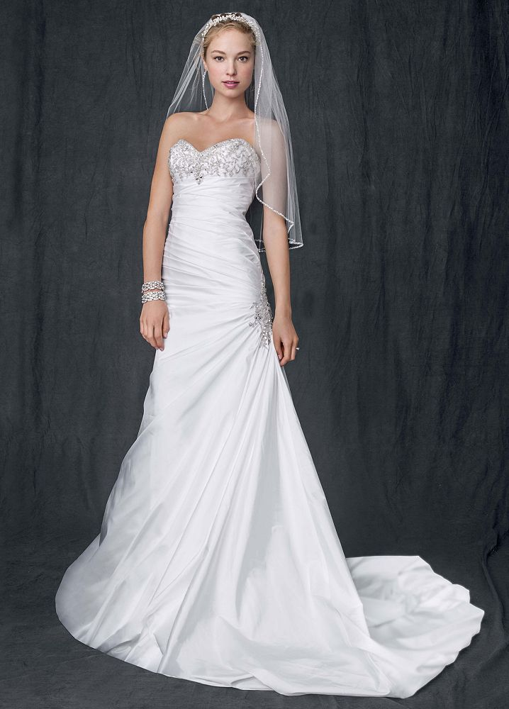 David 39 s bridal petite taffeta wedding dress with beaded for Petite dresses for weddings