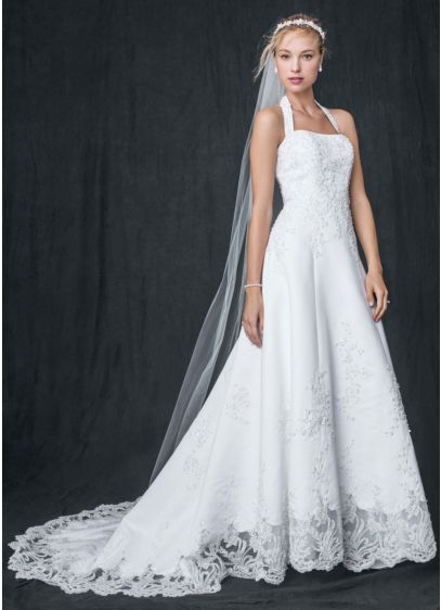 Satin halter a line wedding dress with beaded lace david for David s bridal lace wedding dress