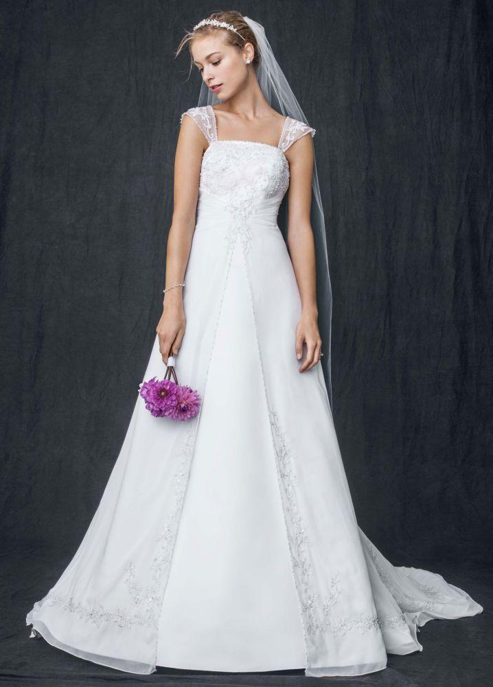 David 39 s bridal sample wedding dress a line with chiffon for Wedding dress with overlay